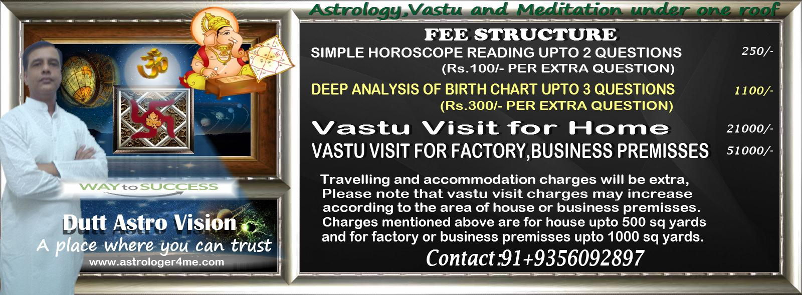 Astrologer Acharya Dutt Horoscope reading and Vastu visit Charges